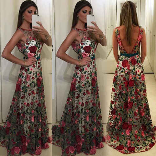 New Arrival Women Lace Prom Floral Formal Cocktail Party Pleated Dress  Sleeveless Embroidery Dress 2018 Fashion edce8fed8cff