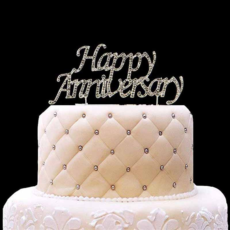 Us 3 99 25 Off Happy Anniversary Cake Topper First 10th 20th 25th 30th 40th 50th Wedding Anniversary Table Centerpiece Decoration Photo Prop In