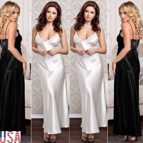 Lingerie Long-Robes Summer Pajamas Sleepwear Nightdress Satin Silk Fashion Women New