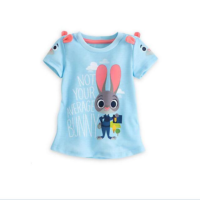 Crianças t shirt meninas 2016 new baby meninas meninos camiseta coelho dos desenhos animados meninas t-shirt de mangas curtas zootopia meninas roupas de verão