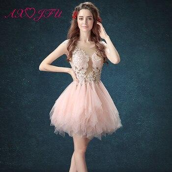7bb322ea7 AXJFU rosa De encaje ilusión vestido De noche vestido De fiesta-cuello  corto o vestidos De noche De encaje gris corto vestidos De noche Rosa  tamaño 2