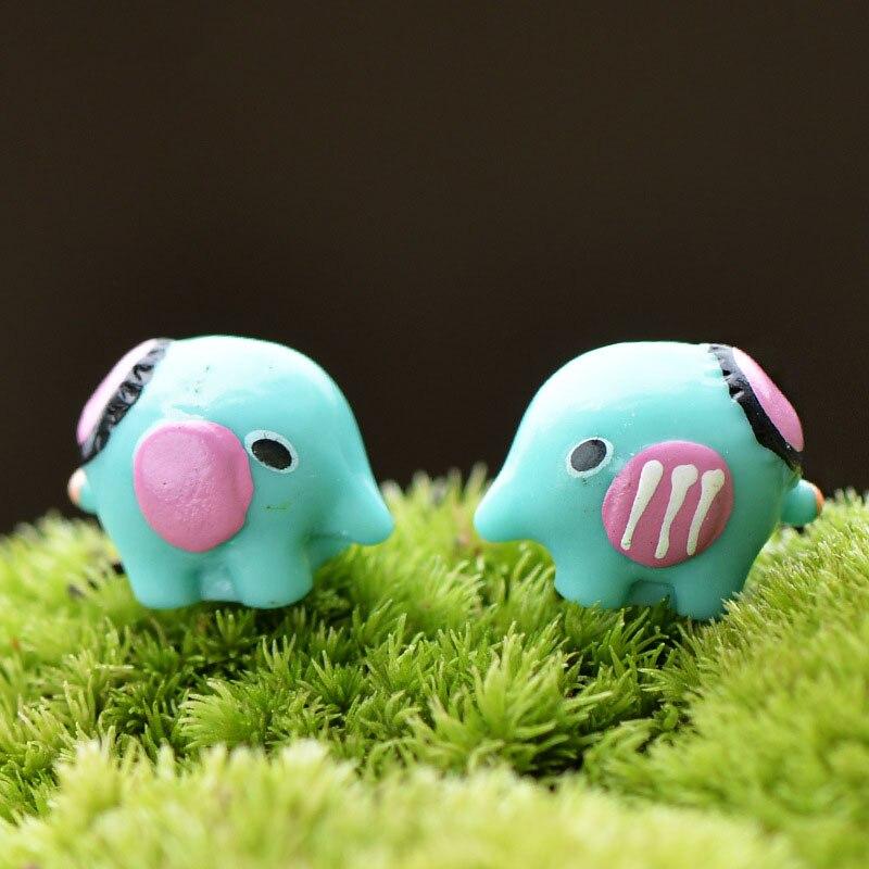 2pcs Mini Elephant Figurine Resin Animals Craft Home Decor Miniatures For Terrariums Micro Landscape Artesanato Decoration