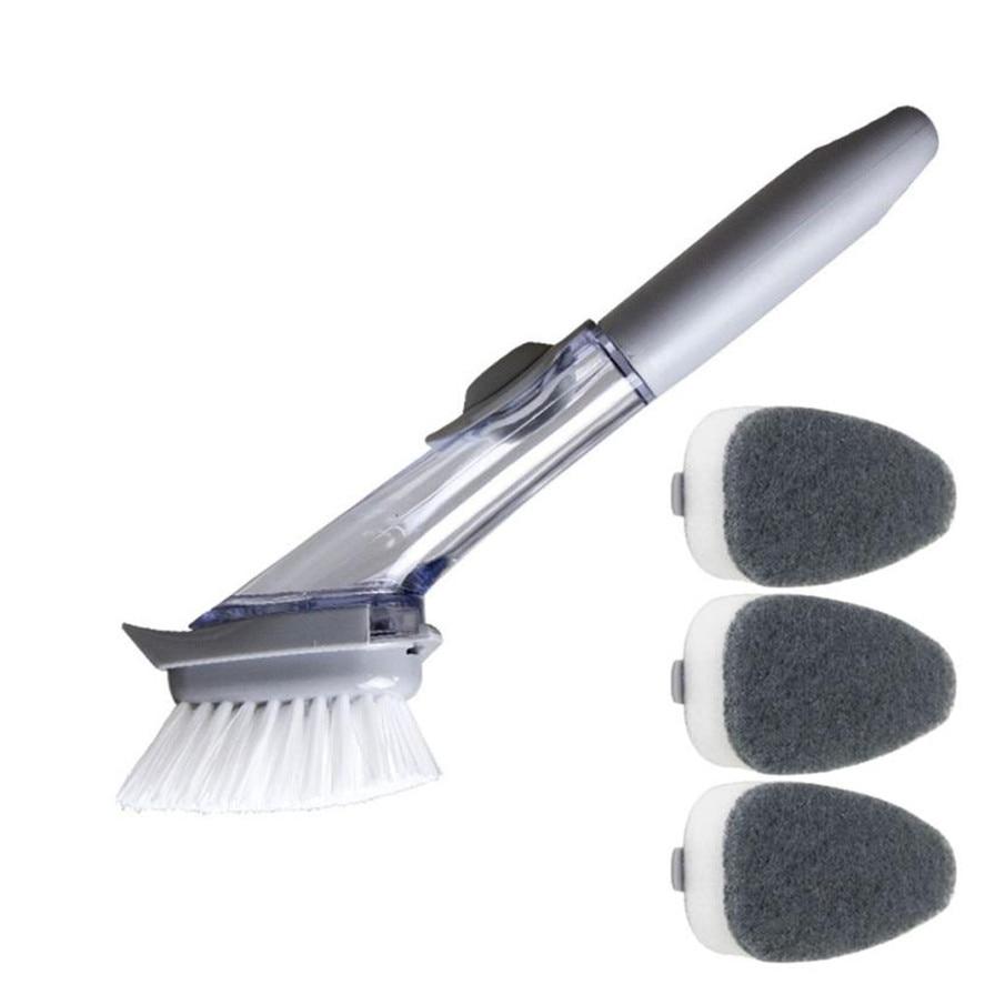 New 1Set Refill Dish Washing Brush Pot Cleaning Sponge Soap Dispenser Kitchen Wash Tools Kitchen Cleaning Brush 35