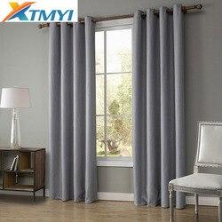 Falso linho cortinas blackout para sala de estar decoração casa janela para o quarto rideaux janela personalizado
