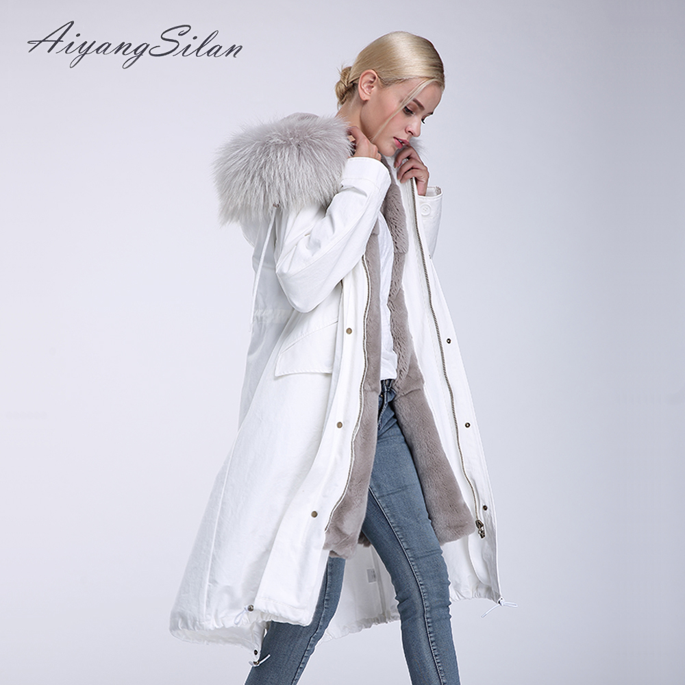 AiyangSilan Real Rex Rabbit Fur Liner Coat Natural Raccoon Fur Collar Parkas Women Fur Jacket White color Long Coats for Winter 2017 winter new clothes to overcome the coat of women in the long reed rabbit hair fur fur coat fox raccoon fur collar