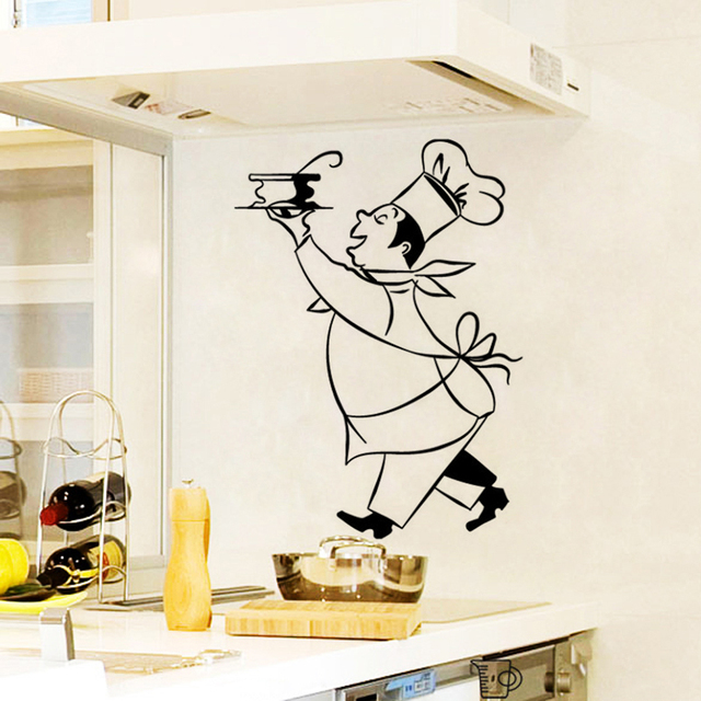Stickers Cuisine Chef Cuistot Vinyl Wall Decals Sticker Mural Wall Art  Kitchen Tile Wallpaper Home Decor