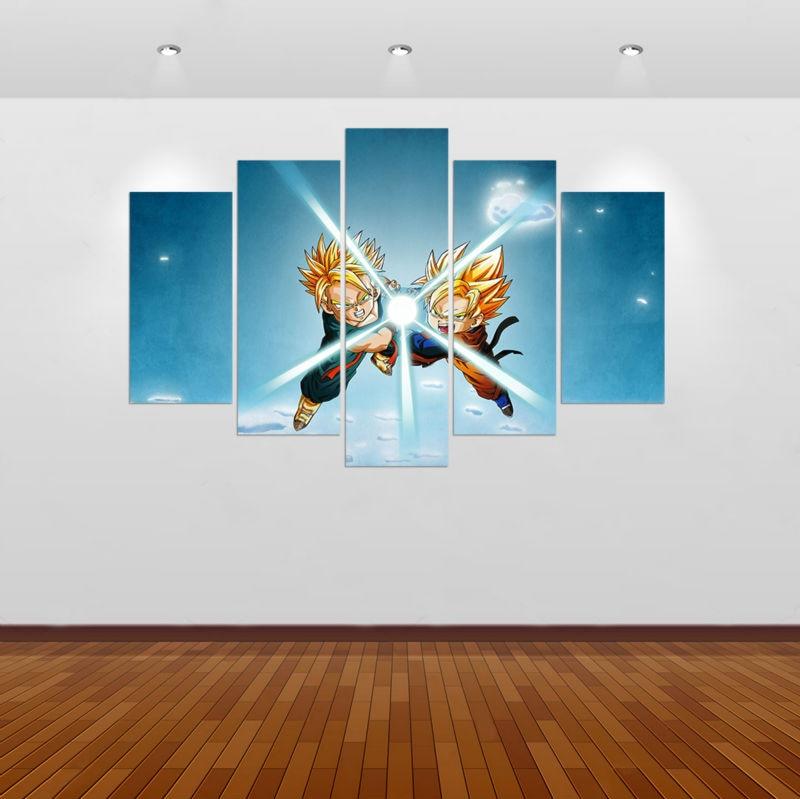 Art Décor: Framed 5 Pcs Dragon Ball Z Gohan Modern Home Decor Canvas