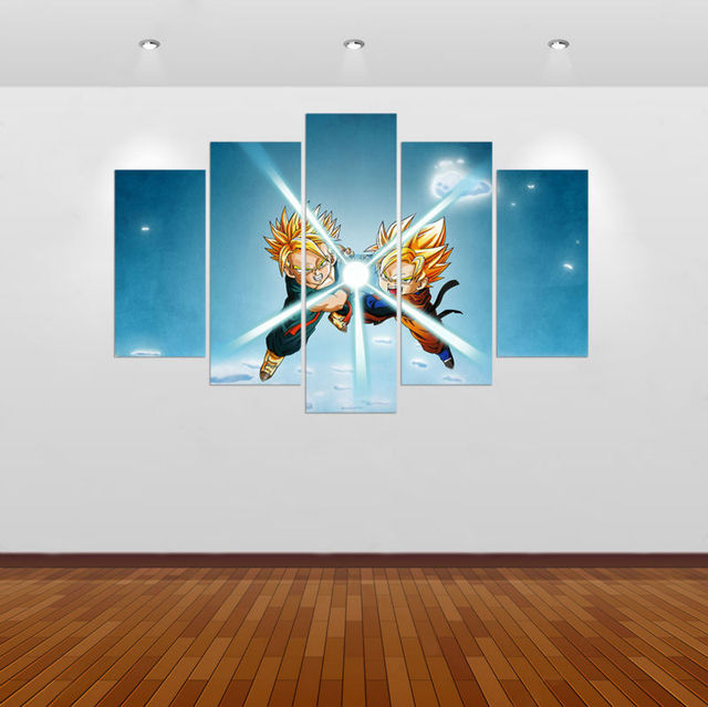 Framed 5 pcs dragon ball z gohan modern home decor canvas for Dragon ball z living room