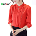 {Guoran } Chiffon Blouses For women 2017 spring new black red white long sleeve femme chiffon shirts casual wear to work tops