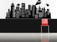 SUPERHERO Batman Movie New York Gotham Skyline WALL ART STICKER VINYL DECAL DIE CUT FOR CHILDREN