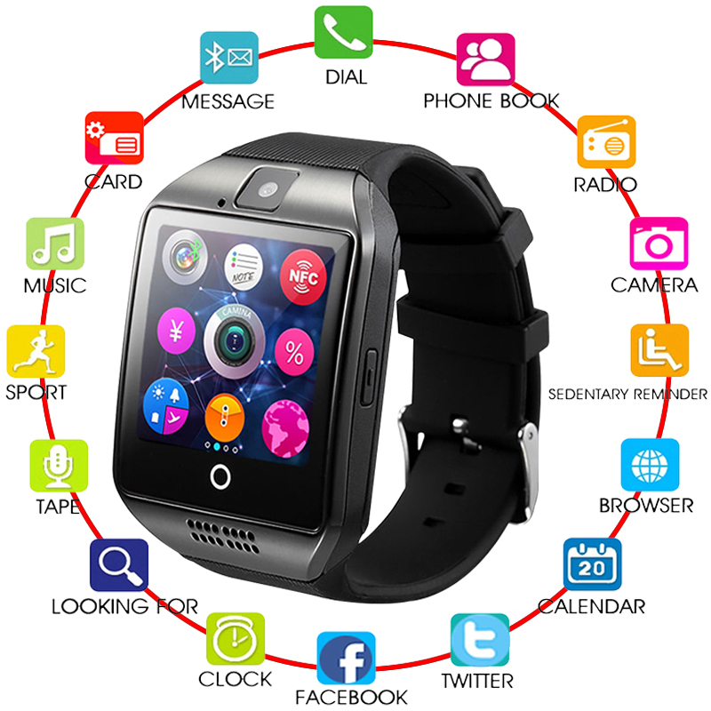 Q18 Passometer Smart Watch with Touch Screen camera Support TF card Bluetooth smartwatch for Android IOS