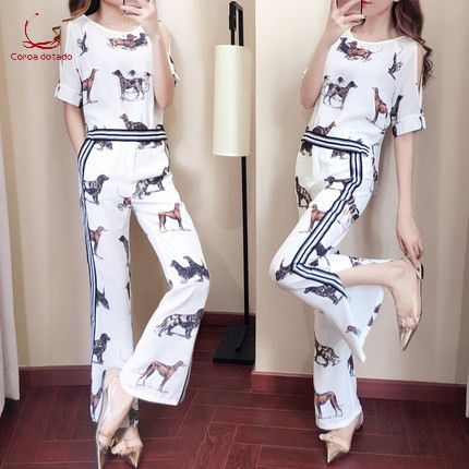 Fashionable Women's Clothes New Fashionable Suit Dog Print Chiffon Broad-leg Trousers Two-piece Suit