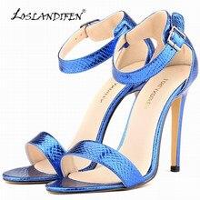 LOSLANDIFEN Sexy Girls Crocodile Grain High Heels Pumps Shoes Open Toe  Ankle Strap Women Pumps Wedding d049a503f051