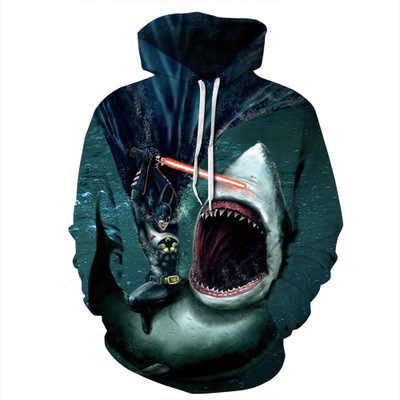 2019 плюс размеры костюм акулы для мужчин женщин толстовка 3d принт хип хоп спортивный костюм Осень Зима Тонкий уличная