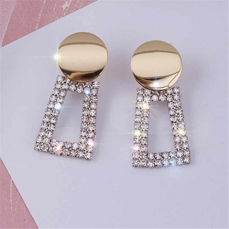 FYUAN Fashion Gold Color Round Geometric Drop Earrings Luxury Shining Square Rhinestone Earring for Women Party Jewelry Gift