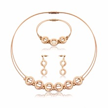 Stainless Steel Jewelry Sets Gold Color Statement Necklace Earrings Bracelet For Women Wedding Bridal Jewelry Sets & More
