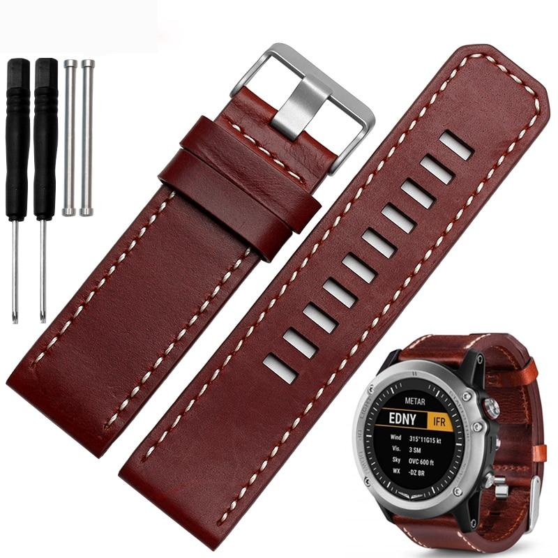 New  26mm Garmin  Fenix3  Genuine leather  waterproof  straps  watchband  Leather straps free shipping фара fenix bc21r
