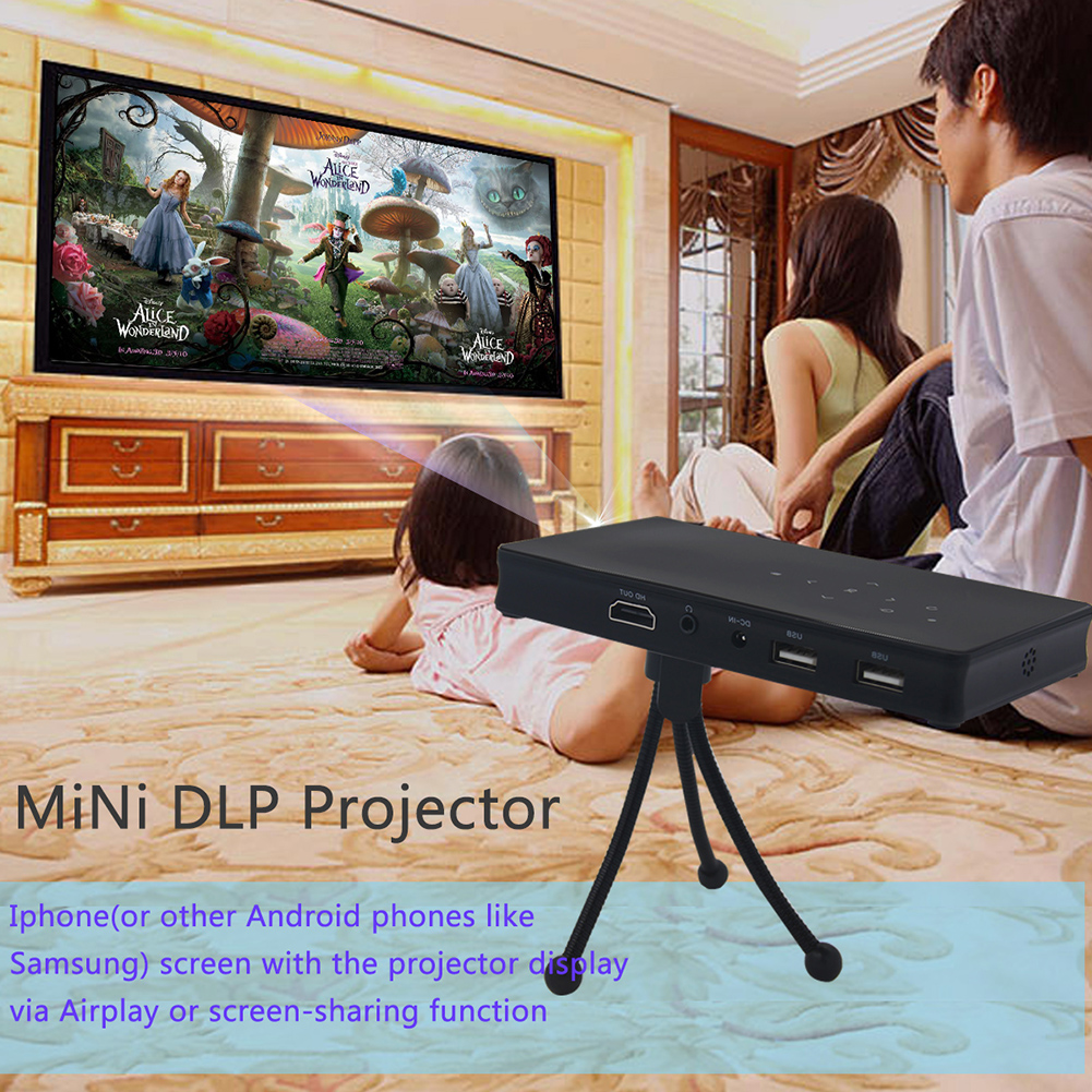 Mini DLP Projector Android 4.4 Smart TV Box 1GB/8GB KODI/XBMC 2.4G&5G WiFi AirPlay Miracast HDMI For Home Theater Education mini dlp projector android 4 4 smart tv box 1gb 8gb kodi xbmc 2 4g