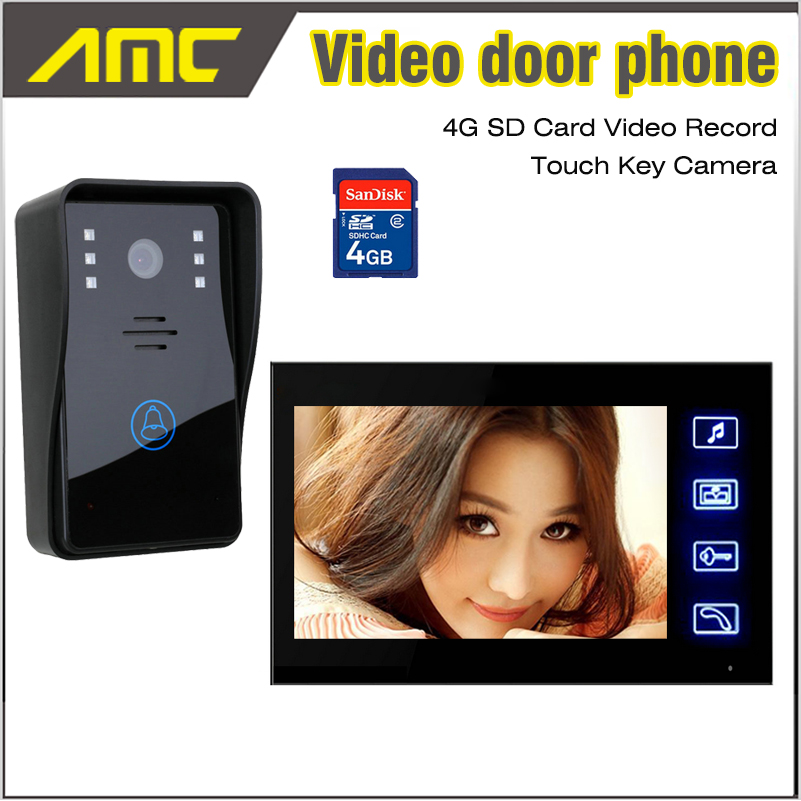 7 Inch LCD Screen Video Door Phone Doorbell Intercom Video Record Night Vision Door Camera 4G Card recording Video intercom 7 inch video doorbell tft lcd hd screen wired video doorphone for villa one monitor with one metal outdoor unit night vision