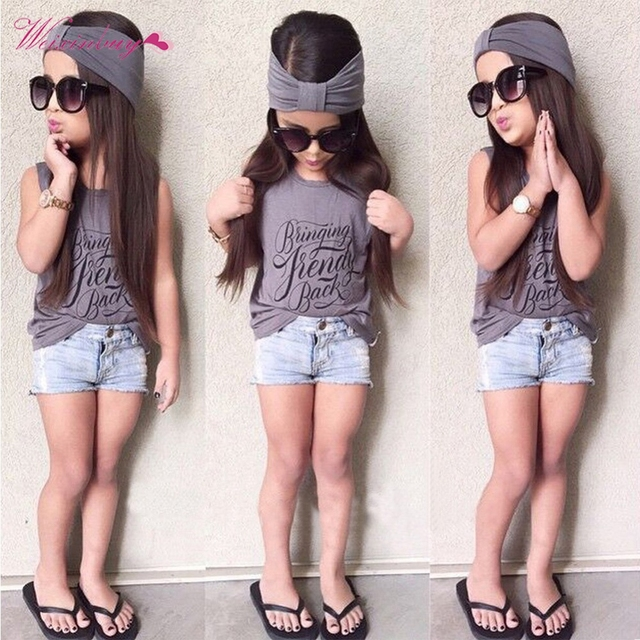 2eedd72965add1 3pcs Toddler Kids Baby Girl Outfits Headband+Top T-shirt+Short Jeans Pants  Clothes Set 2-6Years
