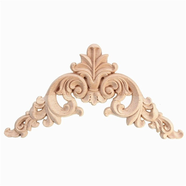 1pc 12 5 X 5cm Wood Oak Carved Corner Onlay Lique Furniture Unpainted Decorative Figurines Wooden