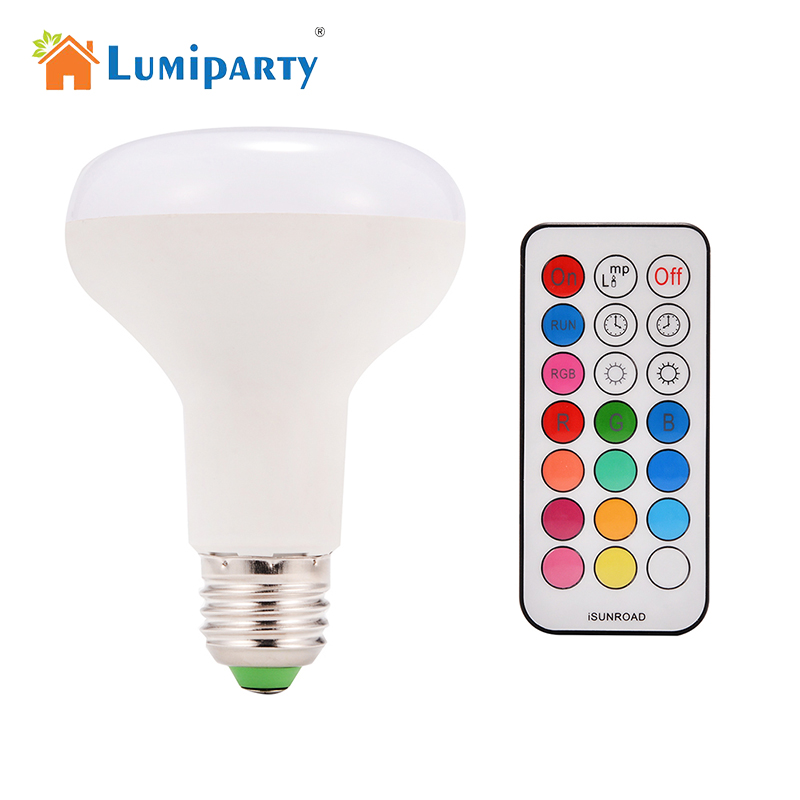 LumiParty New Dimmable 16 Colors Changing LED Light Bulb with Remote Control 10W E27 900LM LED Spotlight Led Bulbs Light Party keyshare dual bulb night vision led light kit for remote control drones