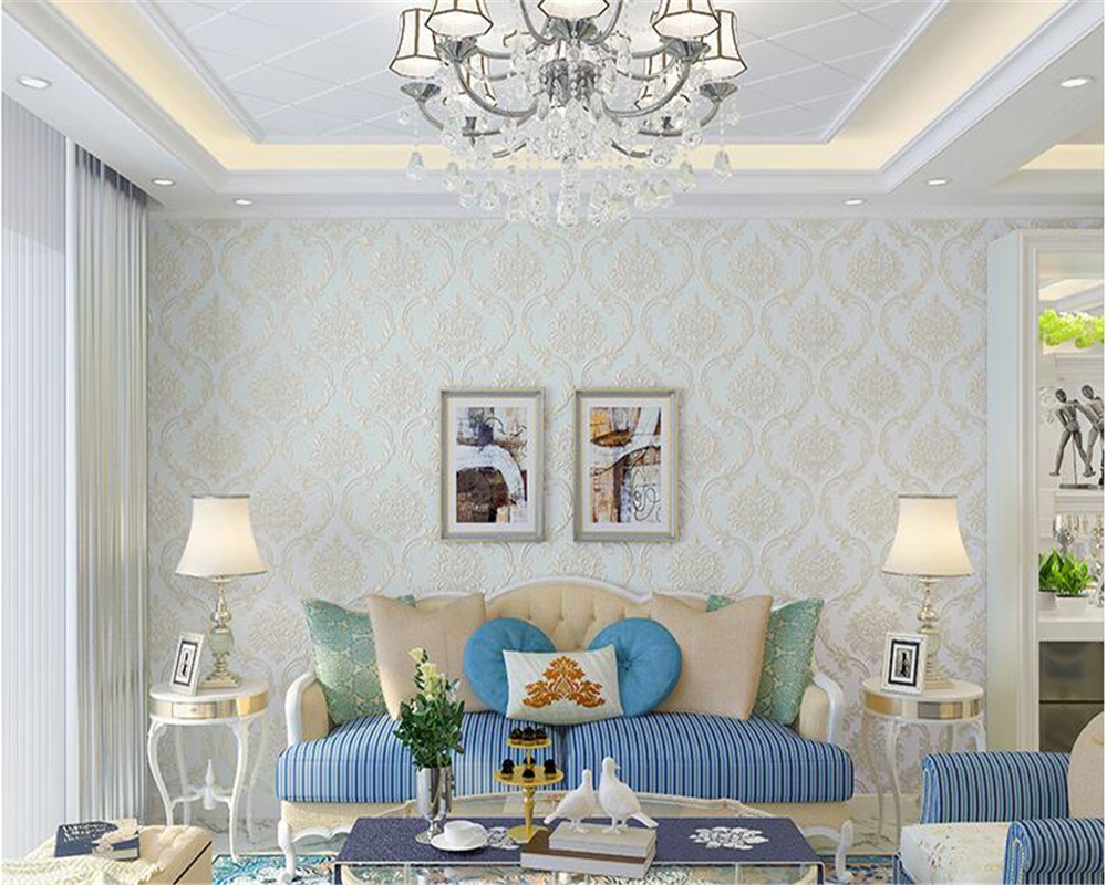 beibehang fine fashion nonwoven wall paper luxury European style papel de parede 3d wallpaper bedroom living room TV background in Wallpapers from Home Improvement