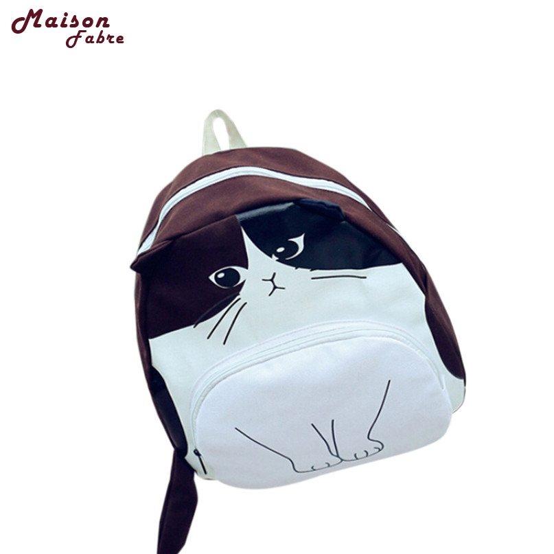 MAFA Lovely Cat Printing Canvas Backpack School Bags Ladies Bookbags Csv Drop F23