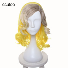 ccutoo Female's 40cm Yellow Blonde Brown Ombre Mix Curly Side Part Styled Synthetic Hair Party Cosplay Costume Wigs