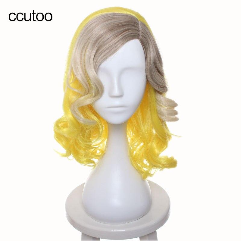 ccutoo kobiece 40cm żółty blond brązowy ombre mix kręcone boczne stylizowane włosy syntetyczne Party Cosplay Costume peruki