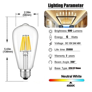 Image 5 - Светодиодная лампа GANRILAND, 12 В, 24 В, St58, E27, 4500 к, низкая мощность, 6 Вт, Эдисон, 12 В, винтажный теплый белый свет, 2700k