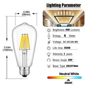 Image 5 - GANRILAND 12V 24V אור הנורה St58 E27 Led Bulab אור יום לבן 4500k נמוך מתח 6W אדיסון 12V Led מנורת בציר חם לבן 2700K