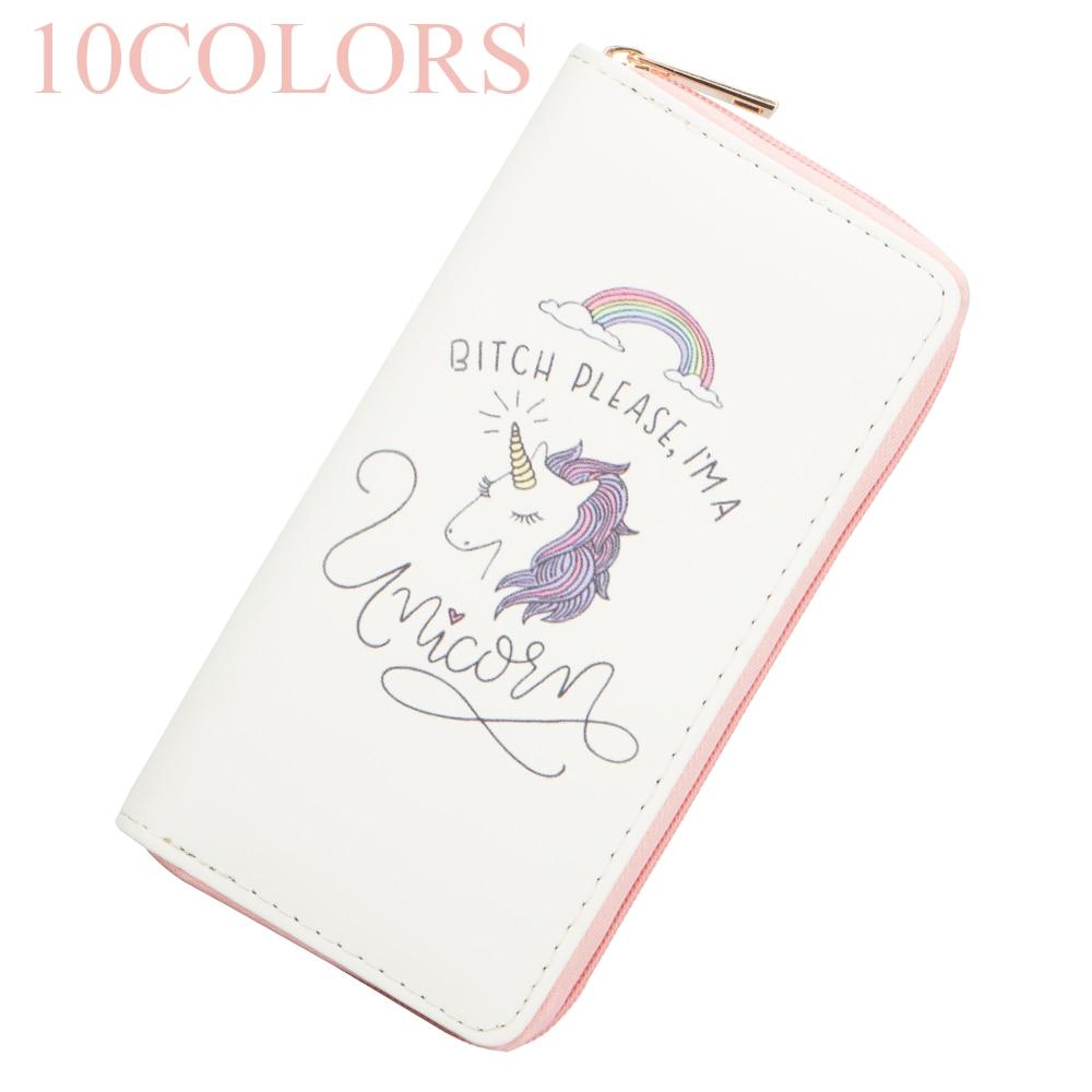 Sansarya New Fashion 2018 10 Colors Cartoon Lovely Unicorn Print Woman Wallet Zipper Card Holder Female Purse Designer Money Bag цена
