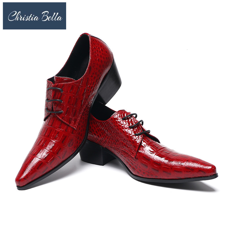 Christia Bella British Men Dress Shoes Red Pointed Toe Crocodile Pattern Leather Shoes Man Lace Up Stylish Wedding Shoes 38-47 stylish tartan pattern red matching design 6cm width tie for men
