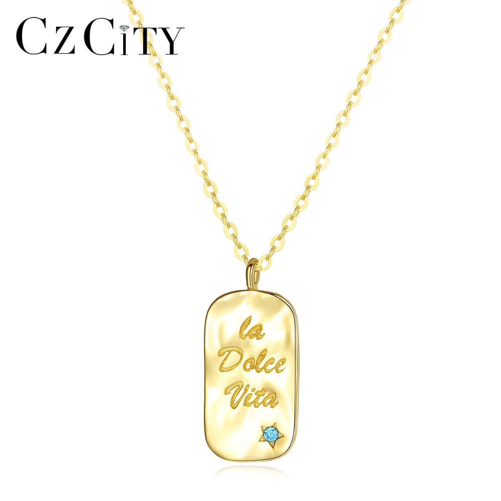 CZCITY Real 14K Gold Petite Small Blue CZ Letter Capital Pendant Necklace for Women the Gifts