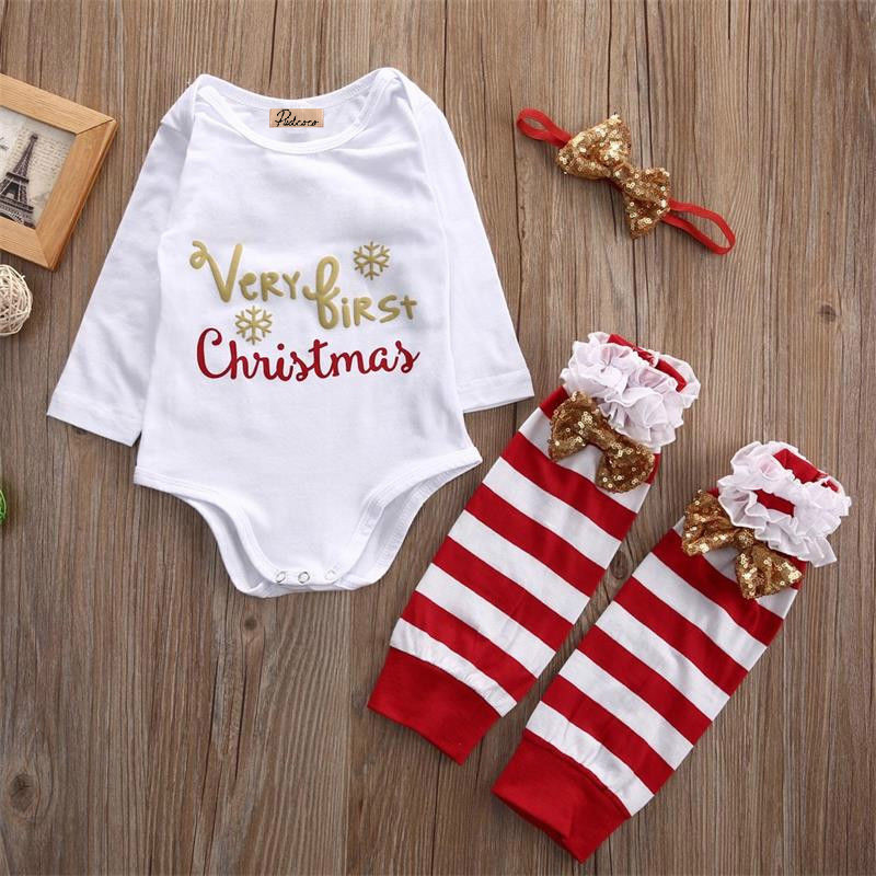 3PCS Christmas Baby Set Newborn Infant Baby Girl Rompers+Stripe Leg Warmers Sequined Headwear Outfits Xmas Clothes Sets newborn infant baby girl short sleeve arrow romper striped leg warmers headband 3pcs pink outfits set clothes