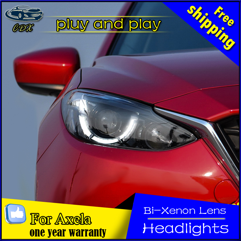 Car Styling Head Lamp for Mazda 3 Headlight 2014-2017 New Mazda3 Axela LED DRL H7 D2H Hid Option Angel Eye Bi Xenon Beam brand new superb led cob angel eyes hid lamp projector lens foglights for mazda 3 axela 2014