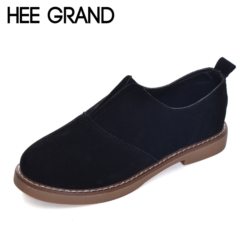 HEE GRAND 2017 Autumn Oxford Shoes Woman Sewing Casual Flats Fashion Loafers Slip On Ladies Round Toe Women's Shoe XWX6026 hee grand camouflage creepers 2017 lace up platform shoes woman wedges loafers slip on flats casual fahsion woman shoes xwd6038