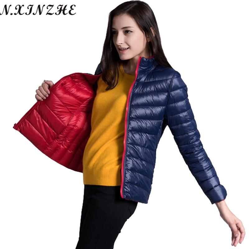 LZMZA Reversible Coat Female 2017 Spring Autumn   Jackets   Women Ultra Light Down   Jacket   Parkas Casual   Basic     Jacket   coats