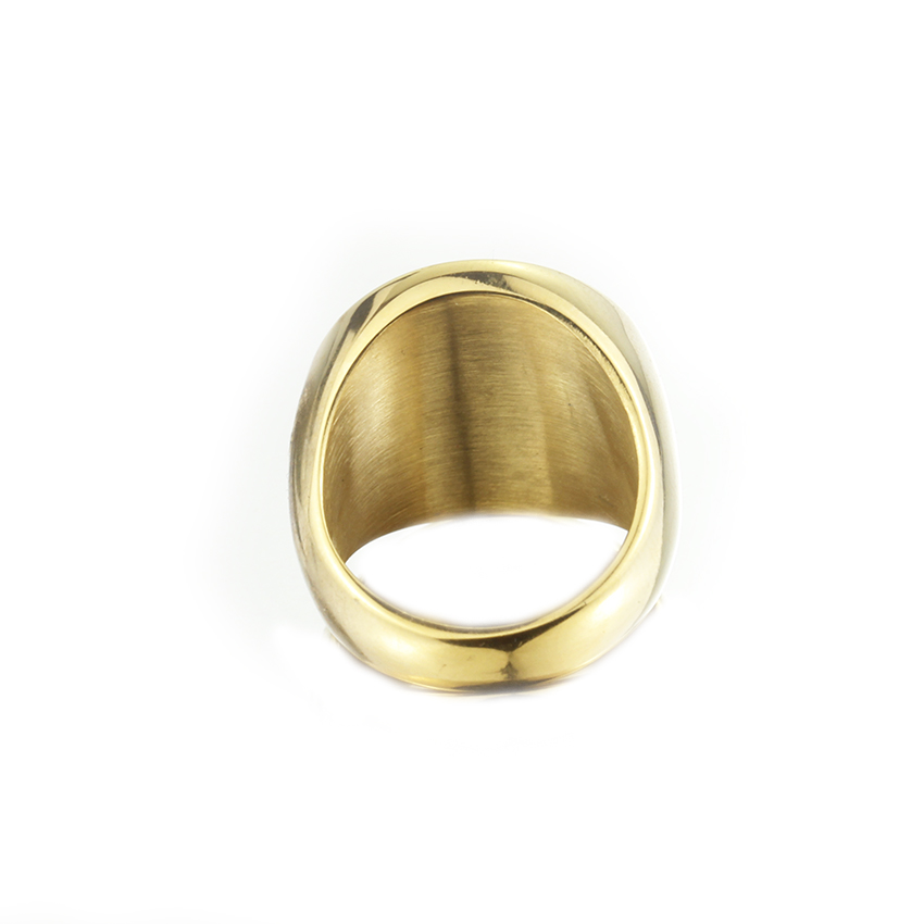 Rock Punk Titanium Steel Signet Rings For Men Black Color Round Ring Bachelorette Party Statement Jewelry Bague Homme In From