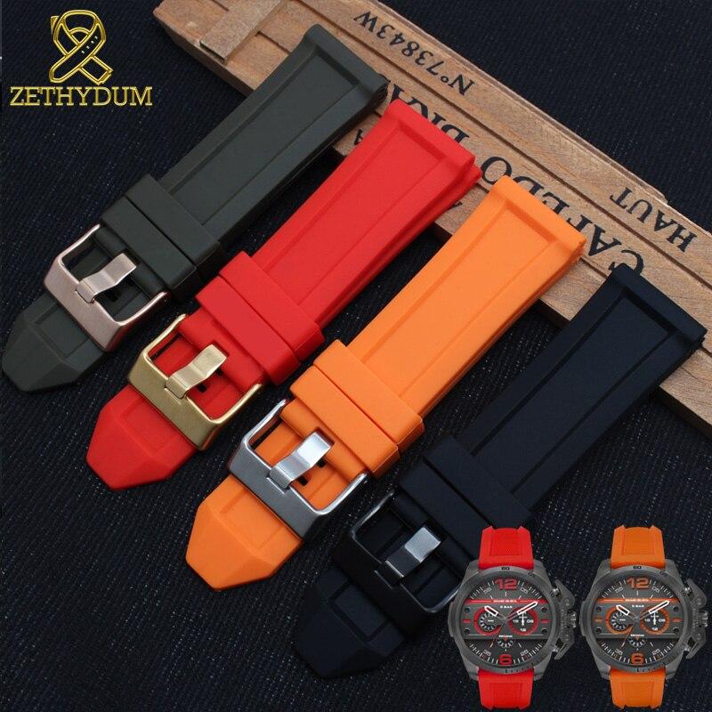 Silicone Rubber Bracelet For Diesel Watch Band 24mm 26mm DZ7370 DZ7333 DZ7317 DZT2006 Watchband Mens Waterproof Watch Strap