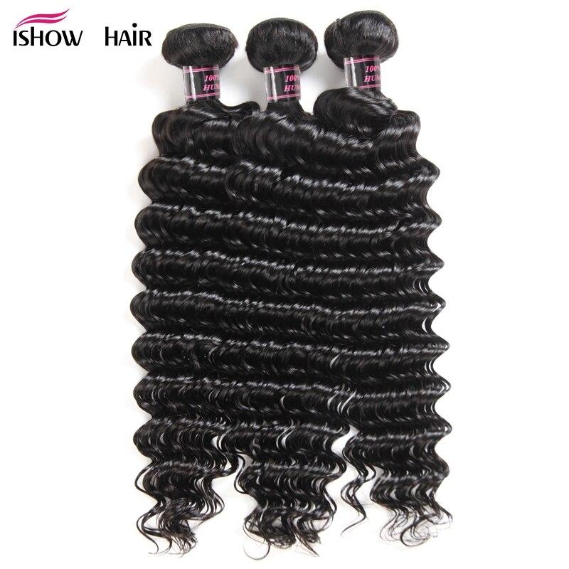 Ishow Hair Indian Deep Wave Hair 3 Bundles 100 Human Hair Weave Bundles Non Remy Human