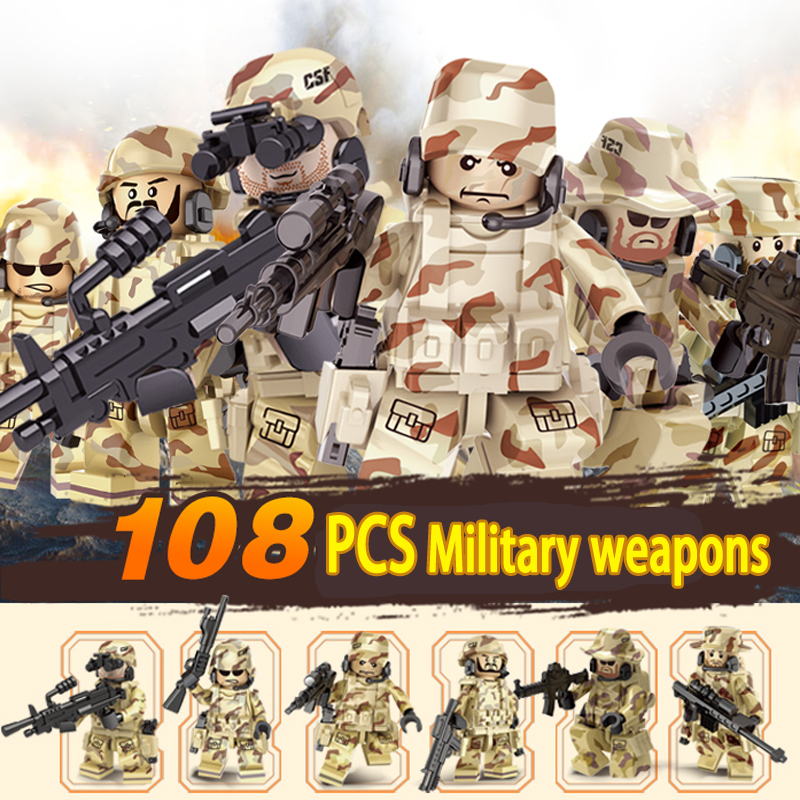 6PCS CSF Commandos Models Military War Army Soldiers Equipment Weapon Gun Model Building Blocks Toys figures WW2 kazi 228pcs military ship model building blocks kids toys imitation gun weapon equipment technic designer toys for kid