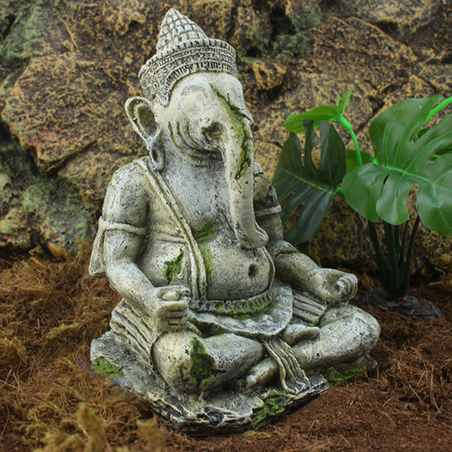 Us 15 03 6 Off Aquarium Fish Tank Resin Decoration India Hinduism Ganesha Buddha Statue God Of Wealth In Decorations From Home Garden On