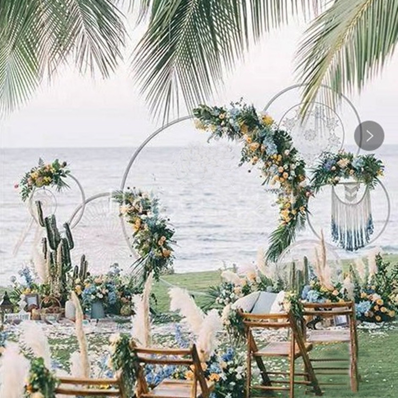Circle Round Wedding Arch Background Wrought Iron Shelf Decorative Props DIY Round Party Background Shelf Flower Home Decor