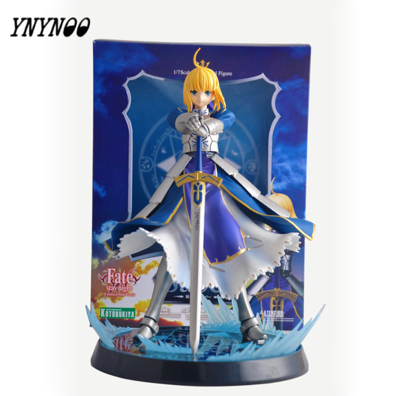 YNYNOO Anime Fate Stay Night Altria Pendragon UBW Saber PVC Action Figures Collectible Model Toys 23cm Best Gifts For Friends fate stay night fate cosplay saber 14cm 5 5 boxed faceswipe garage kit action figures toys face change model