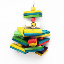 1Pcs Parrot Wooden Blocks Toys Wood Ladder Macaw Colorful Bite String Chewing Swing Toy For Small Medium And Large Parrots