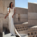 Sheath V Neckline Wedding Dresses with Lace Appliqued Short Cap Sleeve Bridal Gown Custom Made