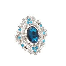 6pcs High-grade blue diamond hollow napkin ring hotel restaurant circle buckle Christmas gift series