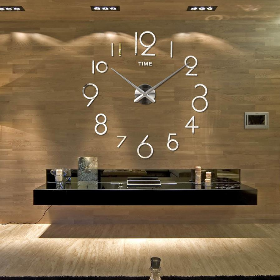 Wall Clock Living Room DIY 3D Home Decoration Mirror Large Art Design Home Office Decor August15